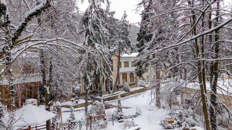 神仙的冬天场面,Ribarska巴尼亚 库存图片