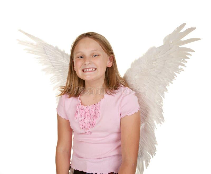 神仙的女孩飞过年轻人 库存照片