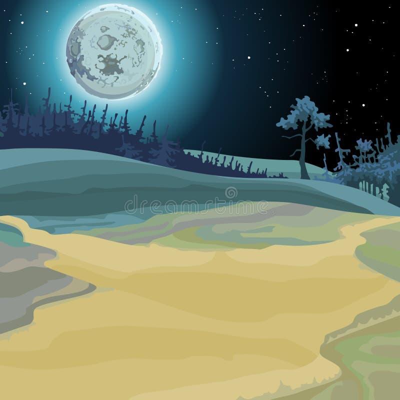 神仙的森林被月光照亮夜的动画片背景 库存例证
