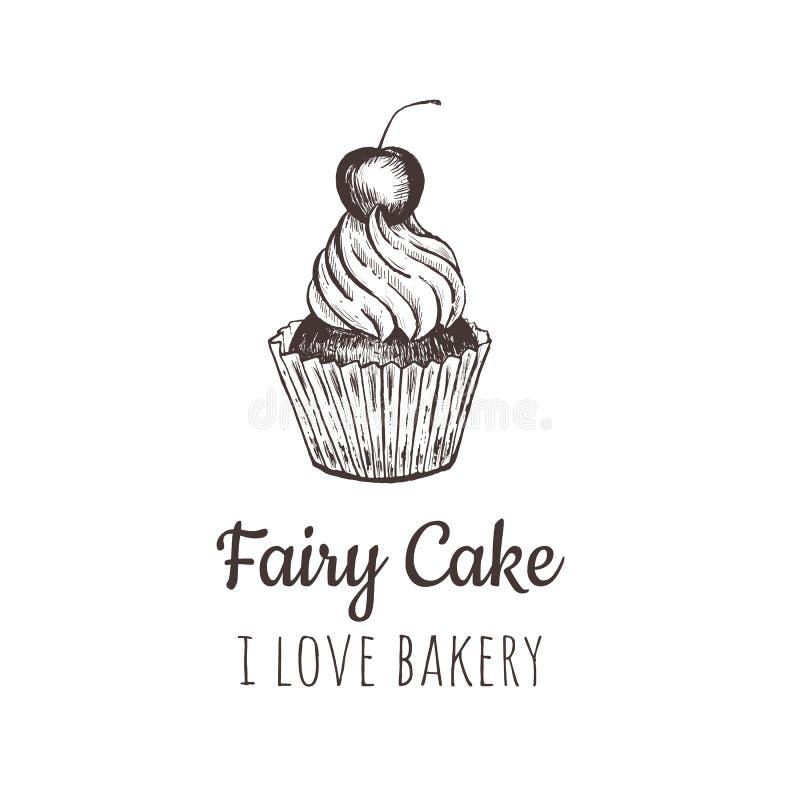 神仙的蛋糕,杯形蛋糕剪影字法商标 皇族释放例证