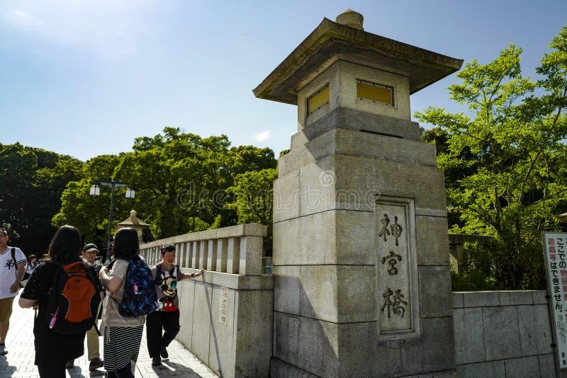 神功皇后Bashi,寺庙桥梁,亦称原宿桥梁 免版税库存照片