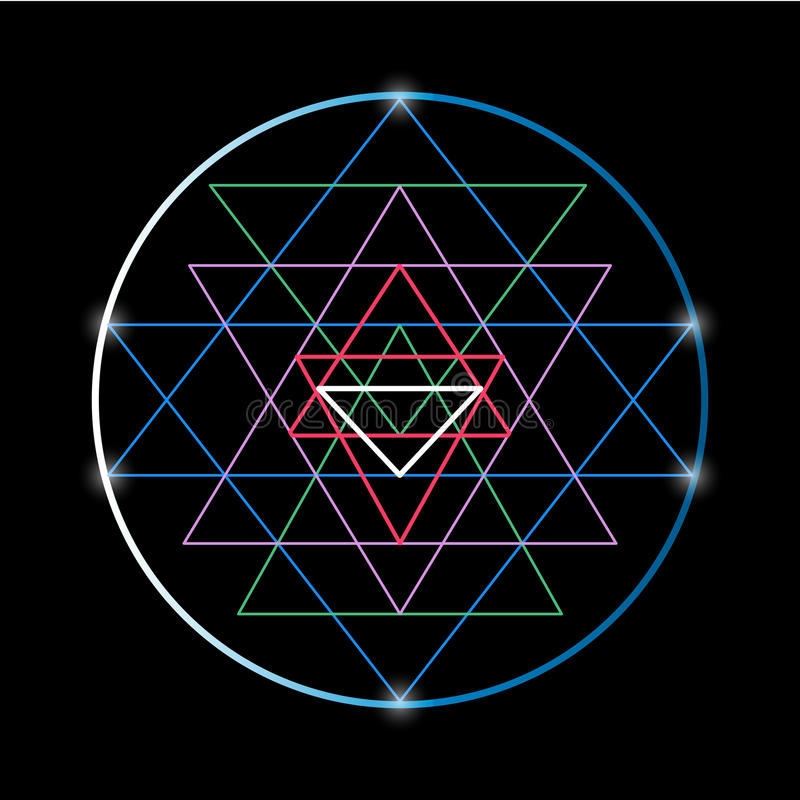 神圣的几何和方术标志Sri扬特拉河 库存例证