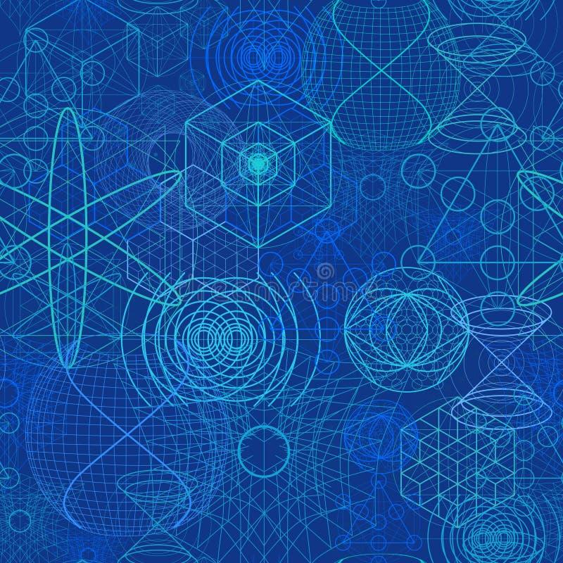 神圣的几何标志和元素贴墙纸无缝的样式 库存例证