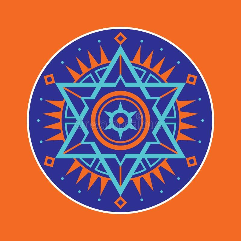 神圣的几何标志 抽象向量模式 神秘的传染媒介徽章 六角形商标 库存例证