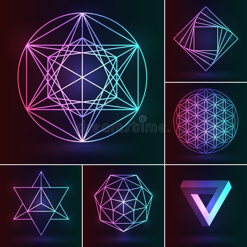 神圣的几何集合 在霓虹backgr的传染媒介神秘的装饰品 向量例证