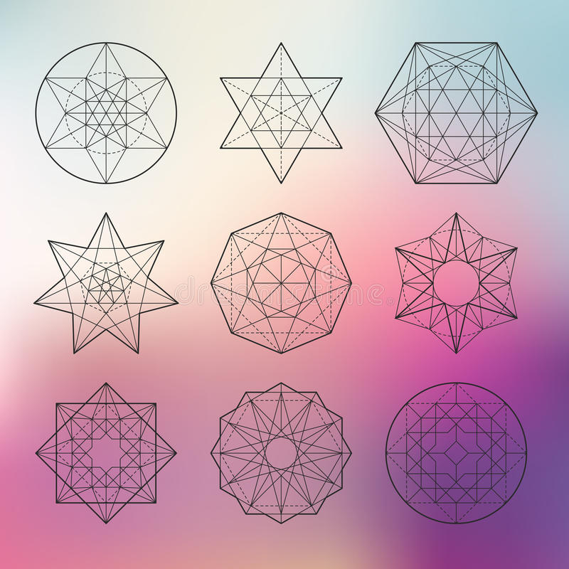 神圣的几何集合 皇族释放例证