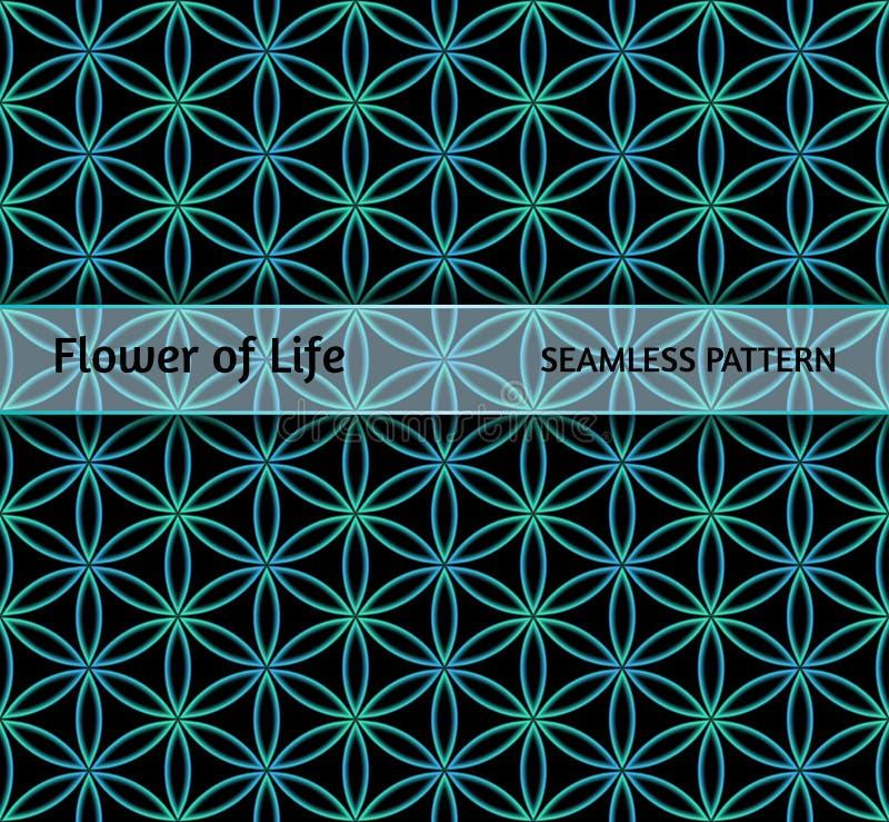 神圣的几何,生活`无缝的样式`花  向量例证