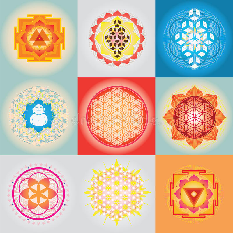 神圣的geomerty集合 皇族释放例证