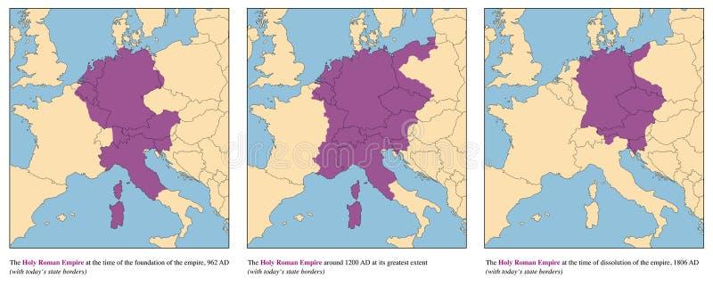 神圣罗马帝国历史地图上升和秋天 皇族释放例证