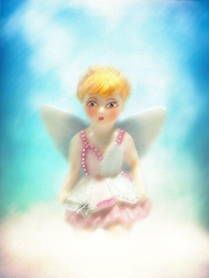 神圣年轻矮小的白肤金发的天使女孩神仙坐云彩 库存例证