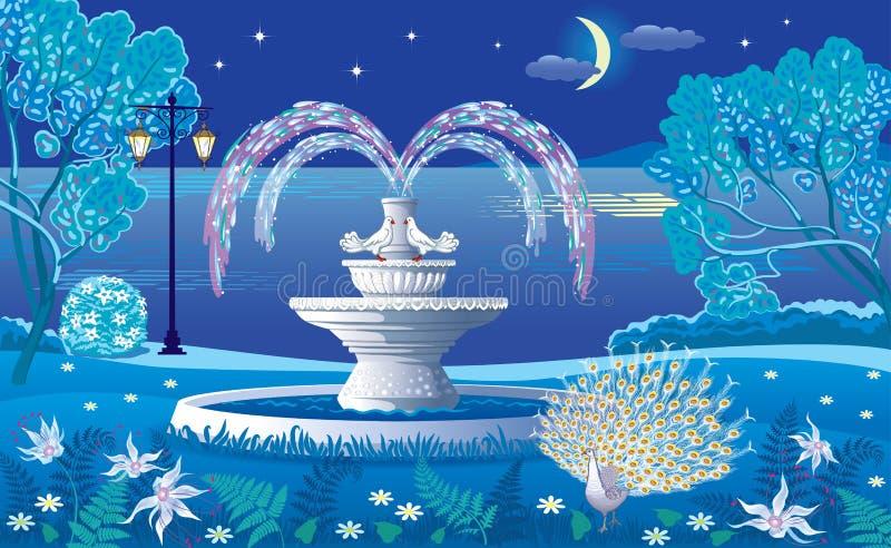 神奇夜是有喷泉和白色的一个美丽的公园 皇族释放例证