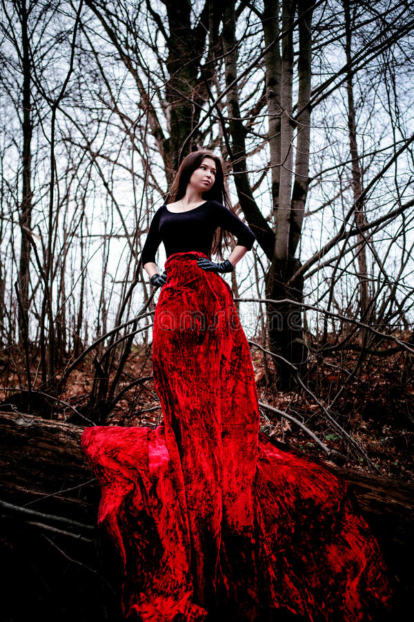 神奇妇女或巫婆站立在黑暗的森林里的长的红色礼服的 库存图片