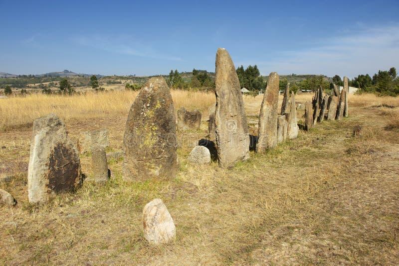 神奇巨石蒂亚柱子,联合国科教文组织世界遗产名录站点,埃塞俄比亚 库存图片