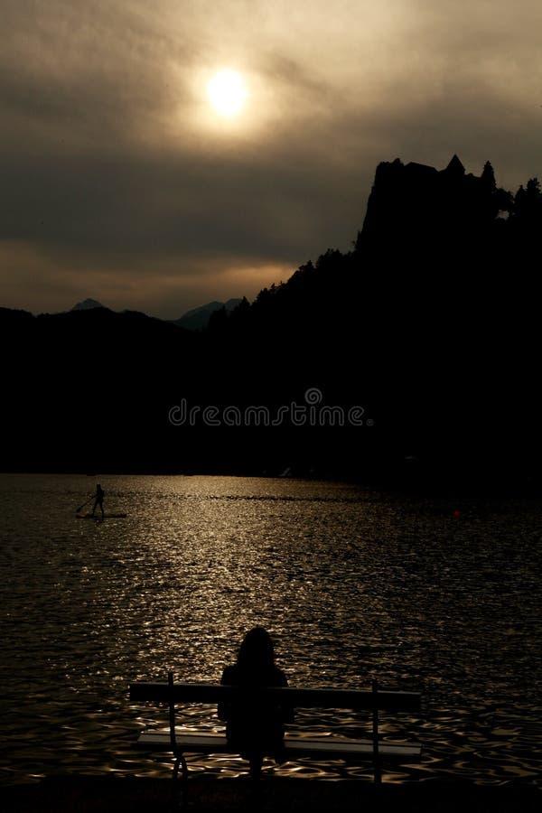 神奇湖日落 库存图片