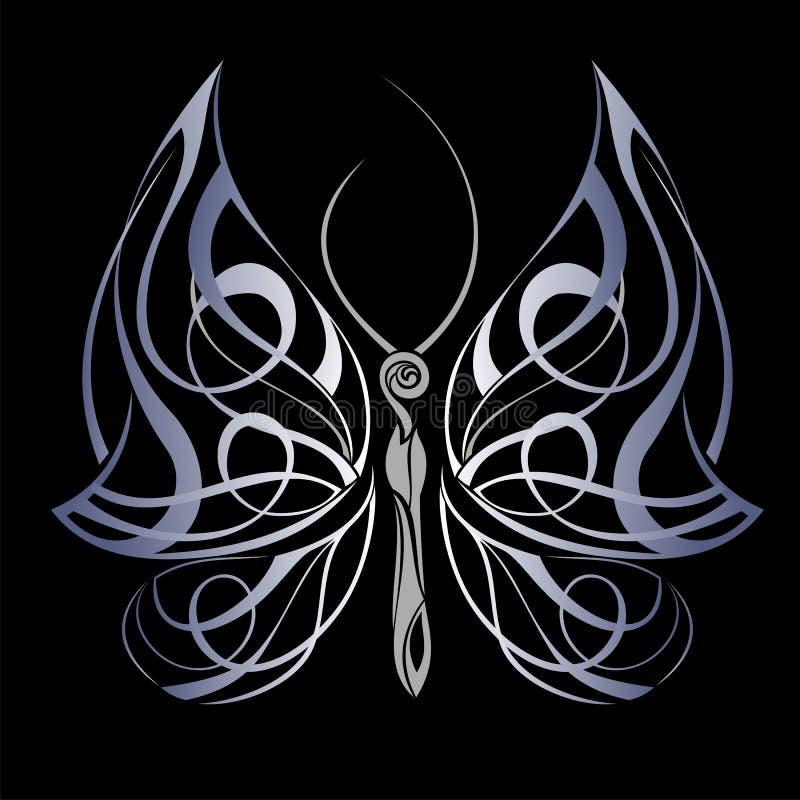神奇背景黑色的蝴蝶 库存例证
