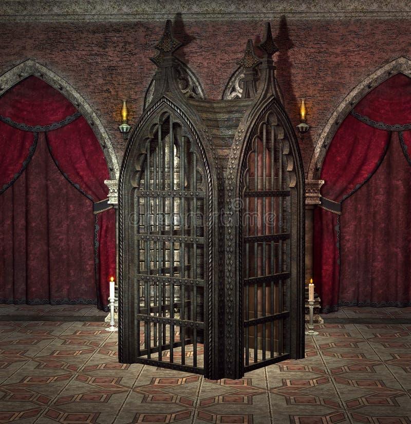 神奇铁栅栏在一间黑暗的哥特式屋子 库存例证