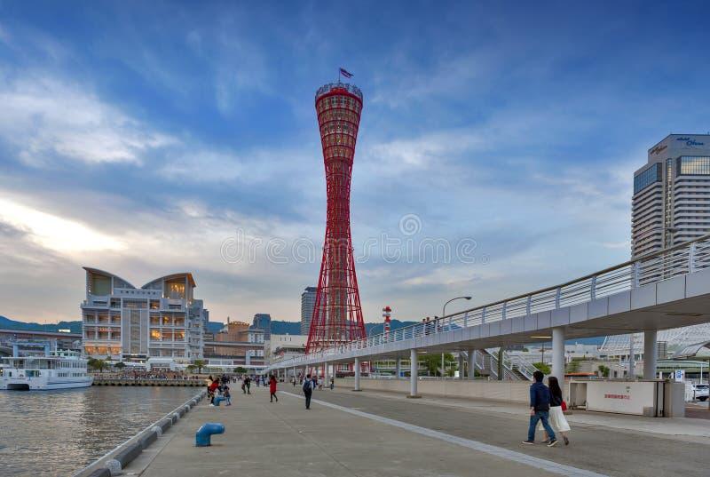 神户从神户Meriken公园看见的口岸塔,神户,兵库县,日本港  库存照片