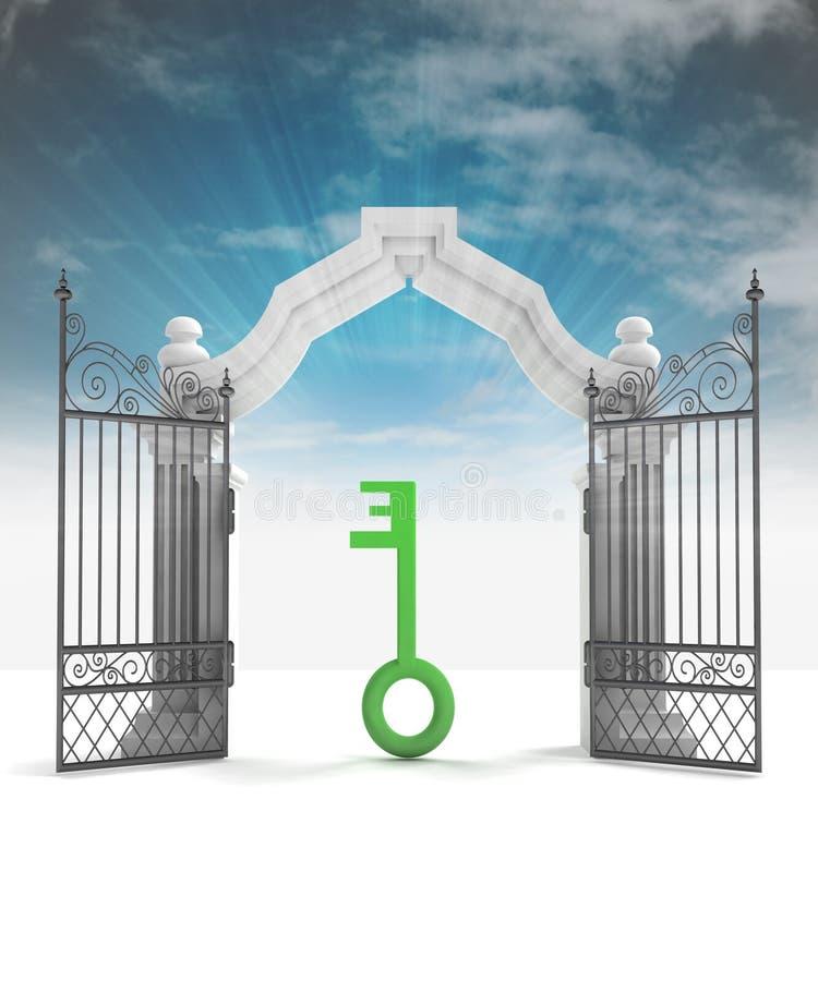 神的关键方式天堂般装门与天空火光 皇族释放例证