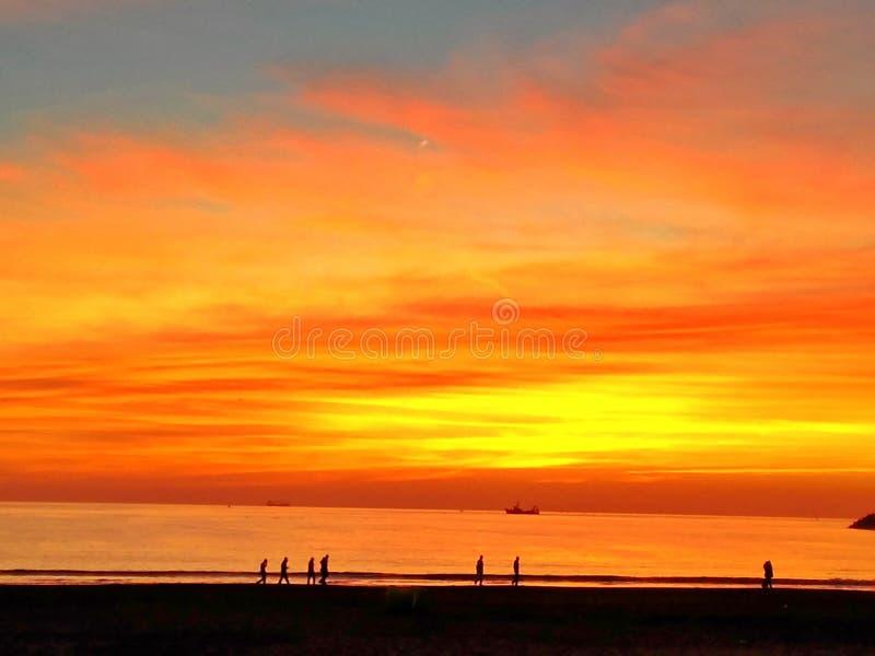 神的日落在阿加迪尔,摩洛哥 库存图片