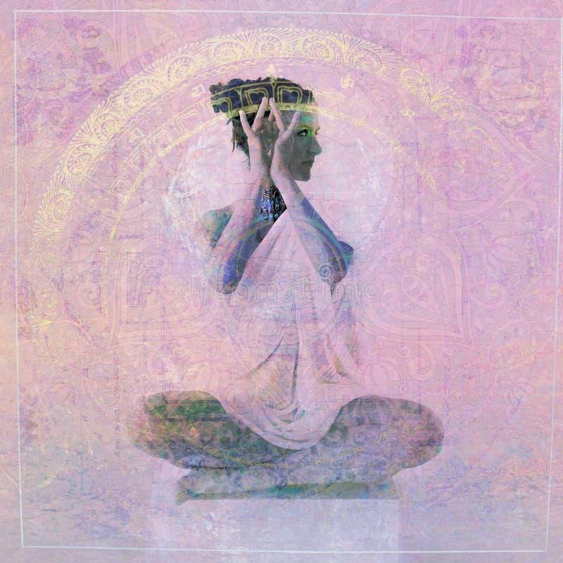 神的瑜伽妇女 免版税库存照片