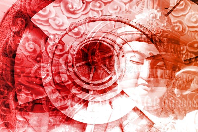 神秘亚洲的蒙太奇 皇族释放例证