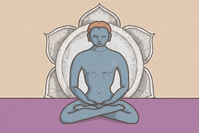 神秘的位置的例证与chakras和莲花的标志的 库存例证