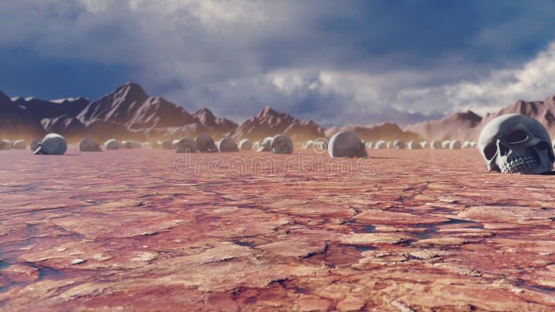 神秘的启示看法、热的闷热沙漠和头骨破裂的地球上,干扰的天空与暴风云和 库存照片