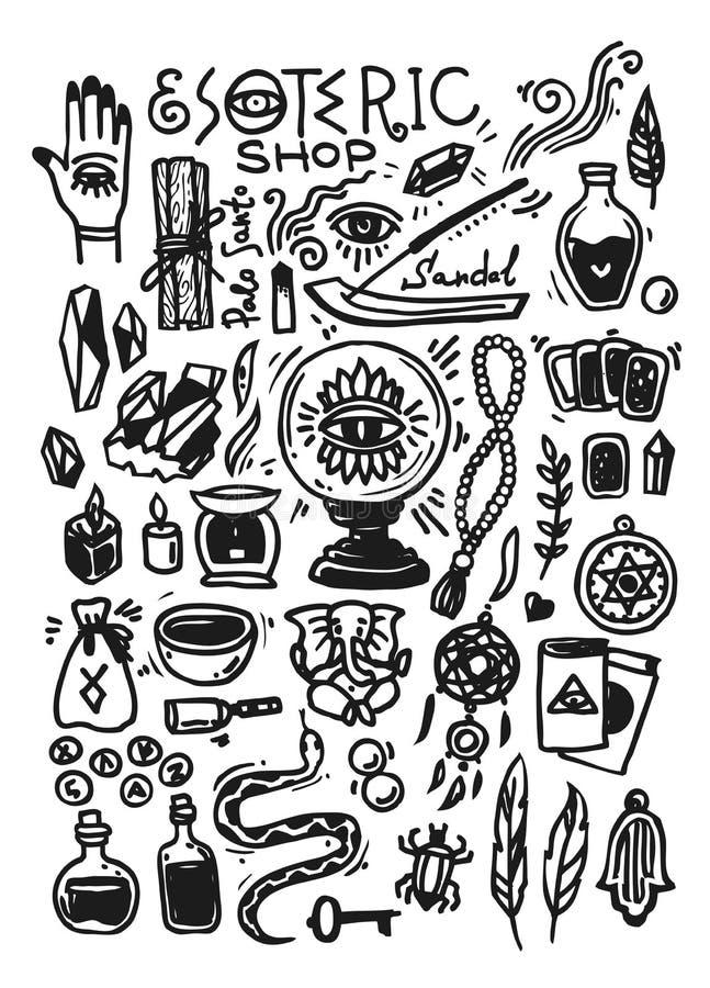 神秘的商店乱画汇集 与手拉的不可思议的元素的例证 向量例证