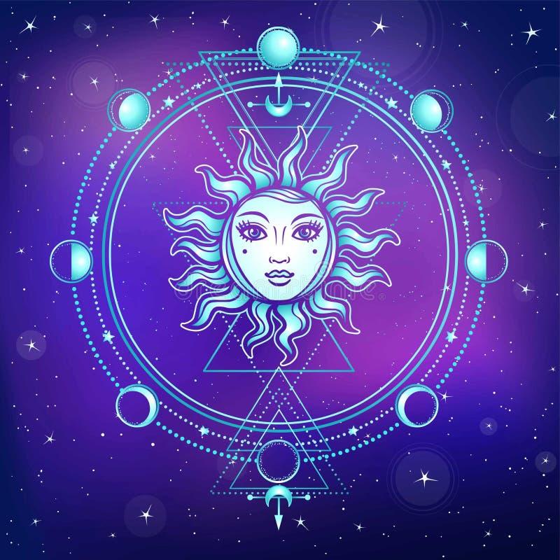 神秘的图画:与一个人面,神圣的几何,月相的太阳 皇族释放例证