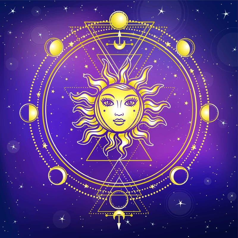 神秘的图画:与一个人面,神圣的几何,月相的太阳 向量例证