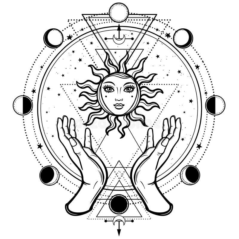 神秘的图画:人的手拿着太阳 向量例证