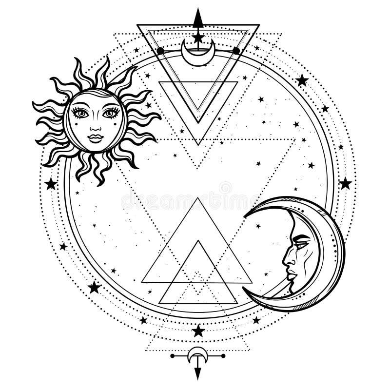 神秘的图画:太阳和月亮与人面,星圈子 库存例证