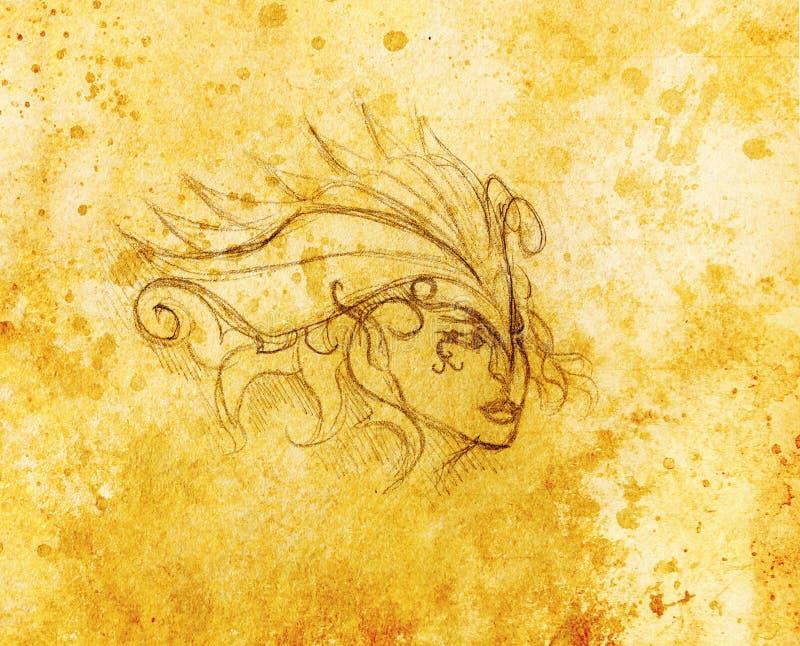 Download 神秘的妇女面孔和头饰带 在纸,颜色作用的铅笔图 库存例证. 插画 包括有 项链, 女性, 有历史, 人员 - 72351515