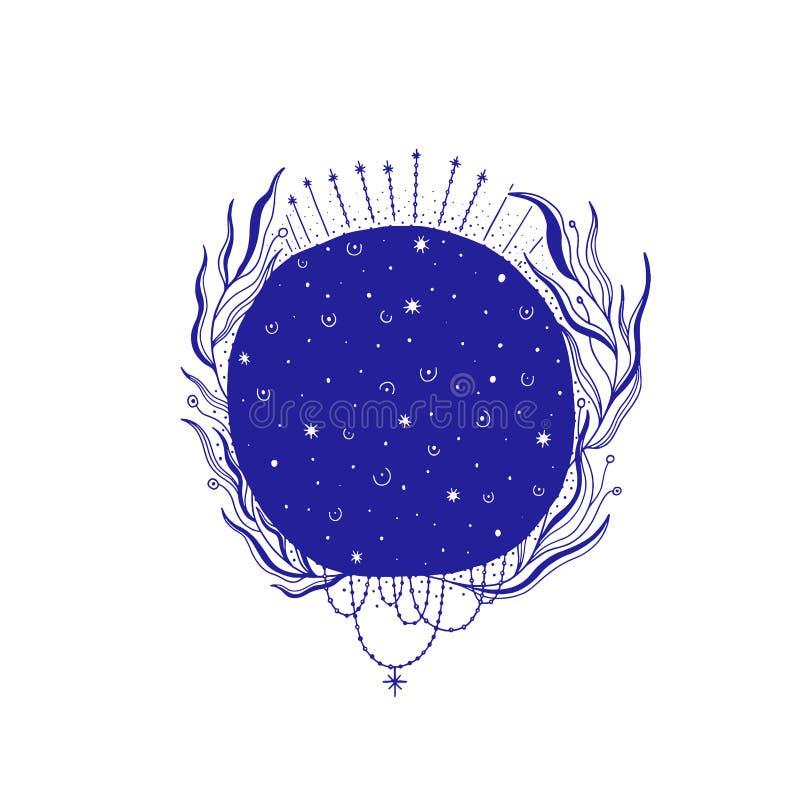 神秘的月亮例证,神秘的标志,不可思议的生活 葡萄酒老牌,图表线 隔绝在白色背景中 库存例证
