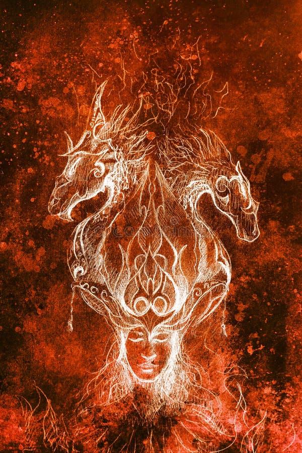 神秘的火的人和装饰龙,在纸的铅笔剪影 库存例证