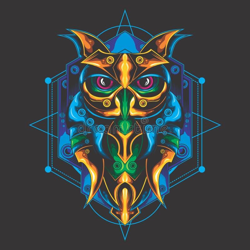神秘的猫头鹰设计 库存例证