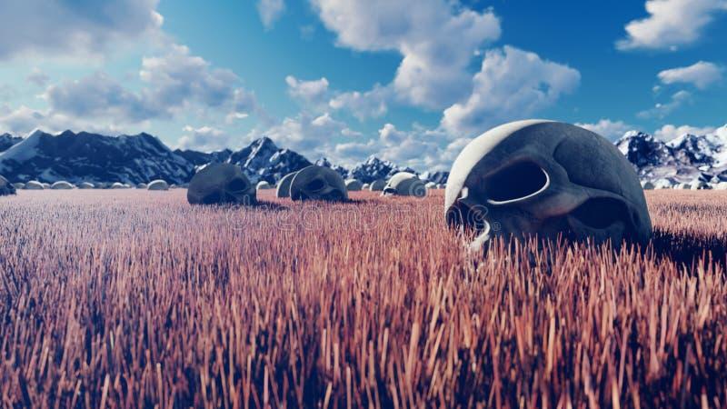 神秘的看法、异常的草、老头骨在地面上,天空蔚蓝与云彩,早晨太阳和山在距离 库存图片