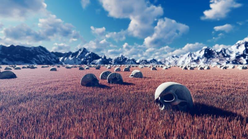 神秘的看法、异常的草、老头骨在地面上,天空蔚蓝与云彩,早晨太阳和山在距离 免版税库存照片