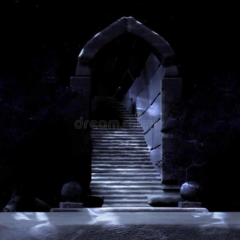 神秘的门在黑暗中 库存例证