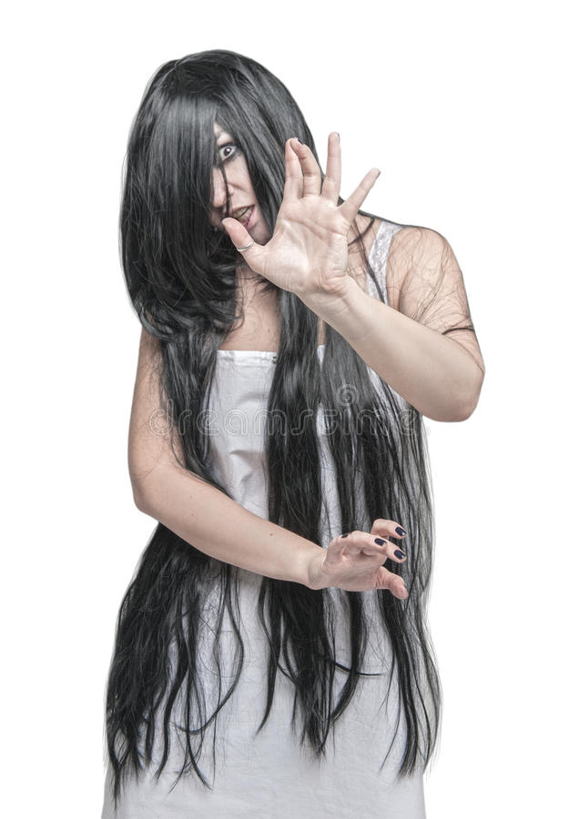 神秘的鬼魂妇女被隔绝 在现有量的重点 库存图片