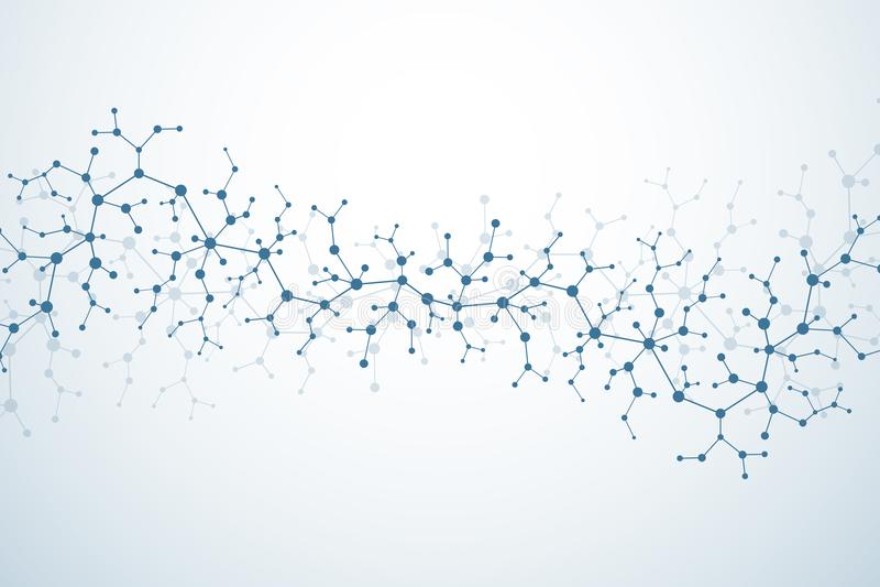 神经元和神经系统的分子概念 科学的医学研究 与微粒的分子结构 科学 库存例证