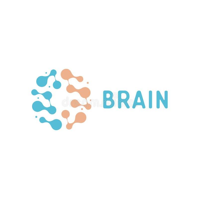 神经元和symapses象 人脑连接 神经网络,记忆地图集,最小的设计传染媒介商标 向量例证