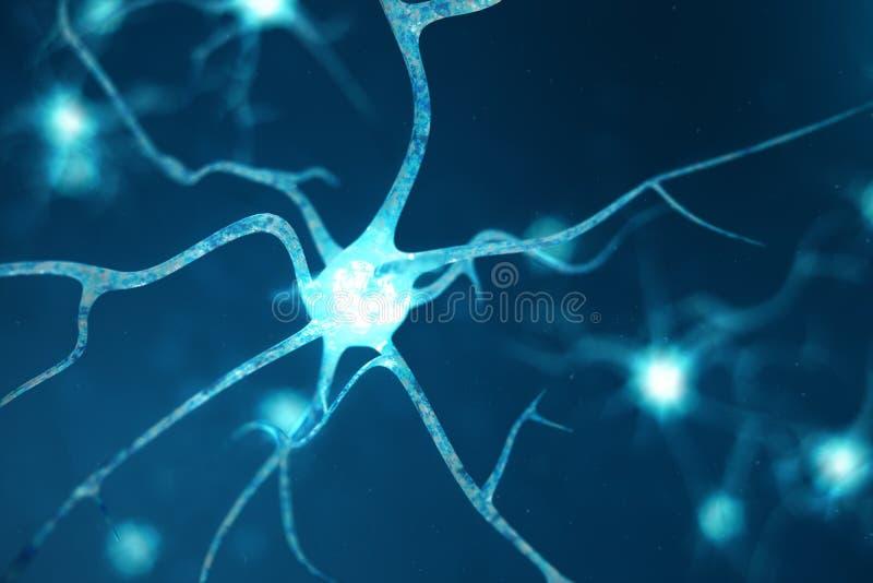 神经元细胞的概念性例证与发光的链接结的 在脑子的神经元与焦点作用 突触和 库存例证