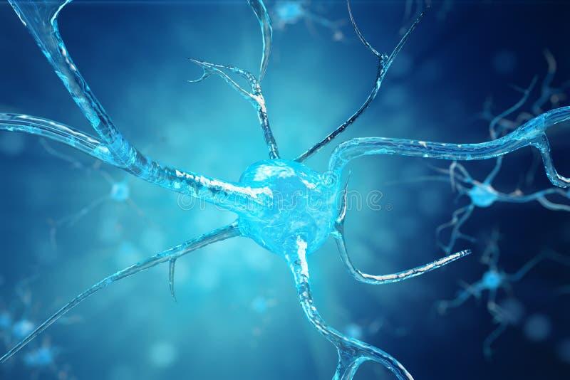神经元细胞的概念性例证与发光的链接结的 送电子化学制品的突触和神经元细胞 库存例证