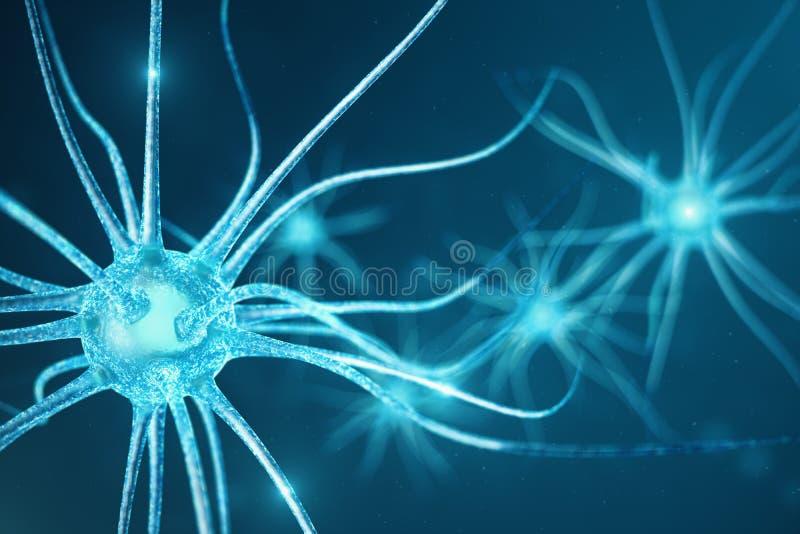 神经元细胞的概念性例证与发光的链接结的 送电子化学制品的突触和神经元细胞 皇族释放例证