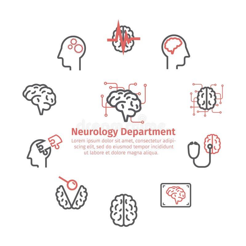 神经学中心圆的横幅 线象 诊所象 脑子标志 也corel凹道例证向量 皇族释放例证