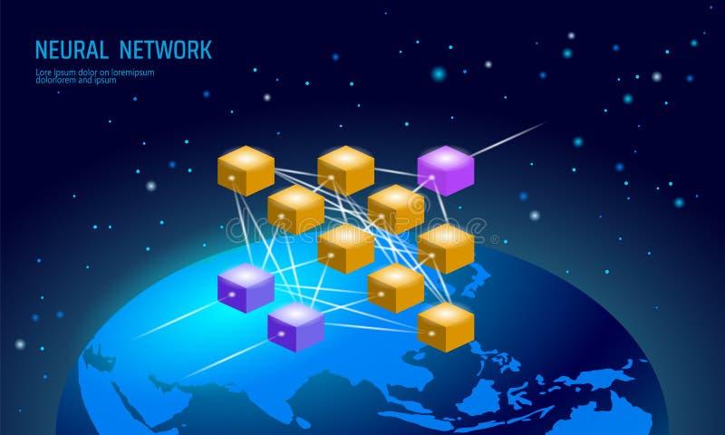 神经系统的国际网 全球性神经元网络 深深学会认知技术概念 逻辑人为 向量例证