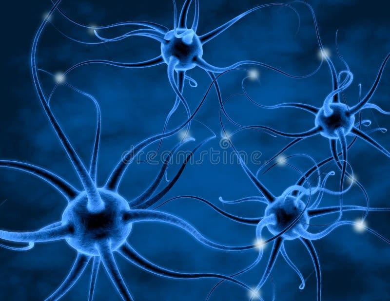 神经细胞、神经元和轴突3D翻译 库存例证