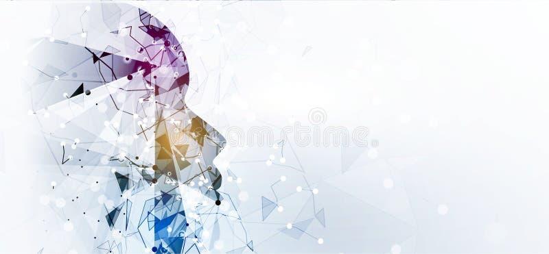神经网络概念 与链接的被连接的细胞 高technol 库存例证