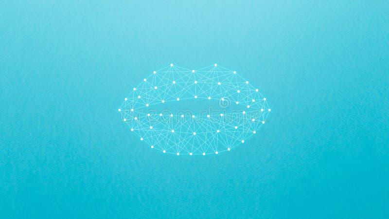 神经网络的概念与嘴唇的在桃红色背景 人工智能,机器和深刻学会,神经网络 图库摄影
